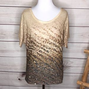 Cache Leopard Mesh Knit Scoop Neck Blouse Small